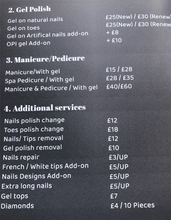 Nails and Cocktails Price List