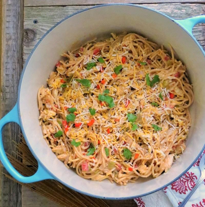 Hatch Green Chile Chicken Spaghetti | TX Comfort Food