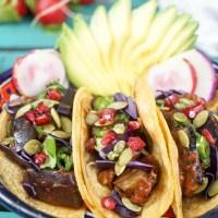 """Skillet eggplant """"rib"""" BBQ mushrooms tacos (vegan, gf)"""