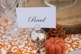 Fall name cards, pumpkin, pinecone, wood, rustic, outdoors, orange and white