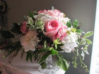Urban Petals, Compote Arrangement, Pink and White Arrangement