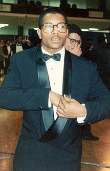 Music artist Marvin Young photographed in his tuxedo at an event.
