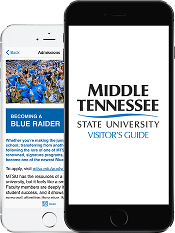 Visit MTSU App on 2 iPhones