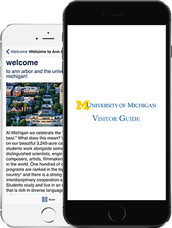 Visit UMICH App on 2 iPhones