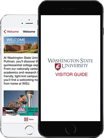 Visit WSU App on 2 iPhones