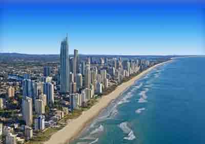 skyline of the Gold Coast in Australia