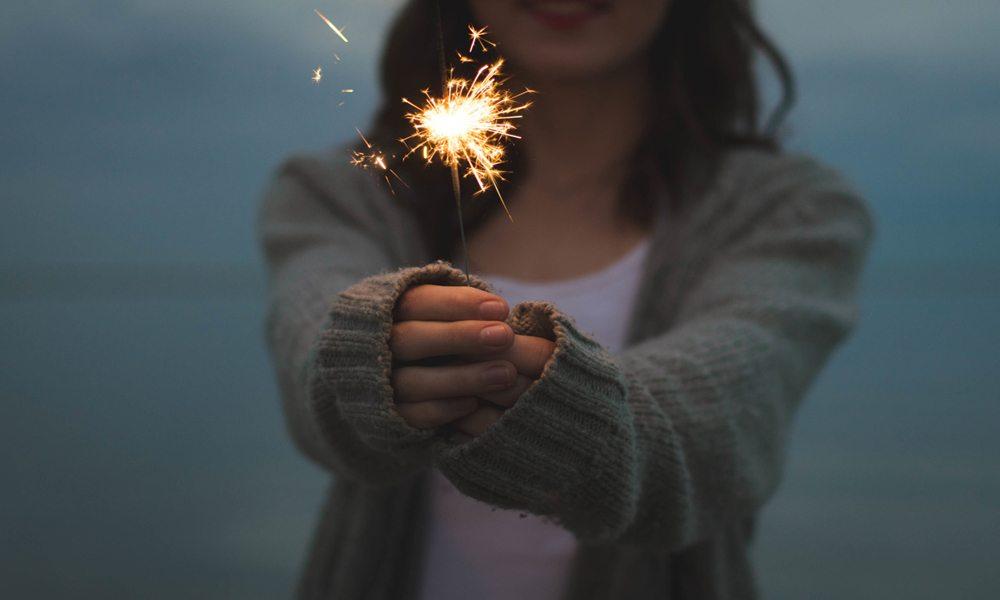 Girl holding a sparkler