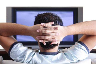 student watching tv