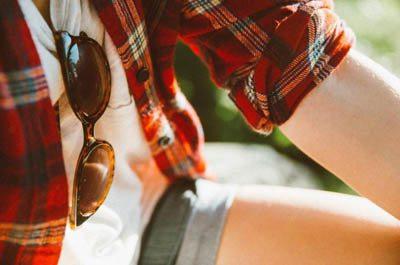 girl wearing a flannel shirt