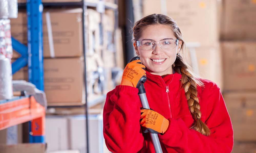 Girl working at her internship