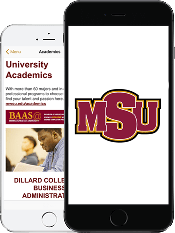 Visit MSU App on 2 iPhones