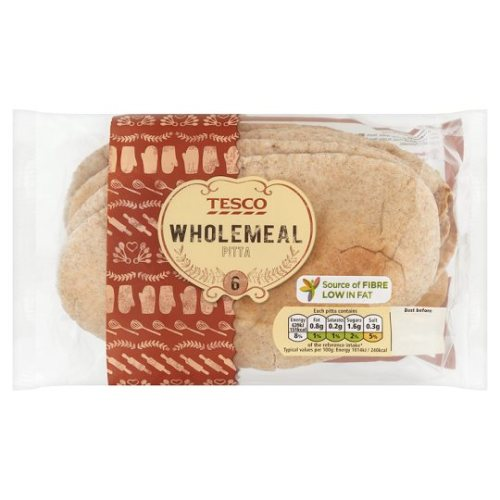 Tesco 6 Wholemeal Pitta Bread