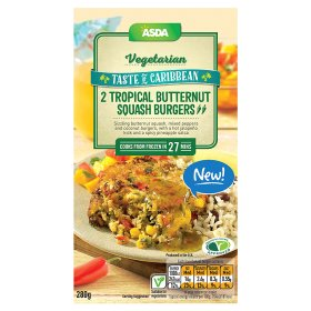 ASDA Vegetarian Taste of Caribbean 2 Tropical Butternut Squash Burgers