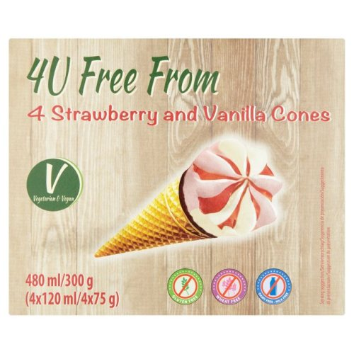 New - 4U Free From Strawberry + Vanilla Cones 4 x 120ml
