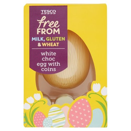 Tesco Free From White Chocolate Egg With Coins 115G