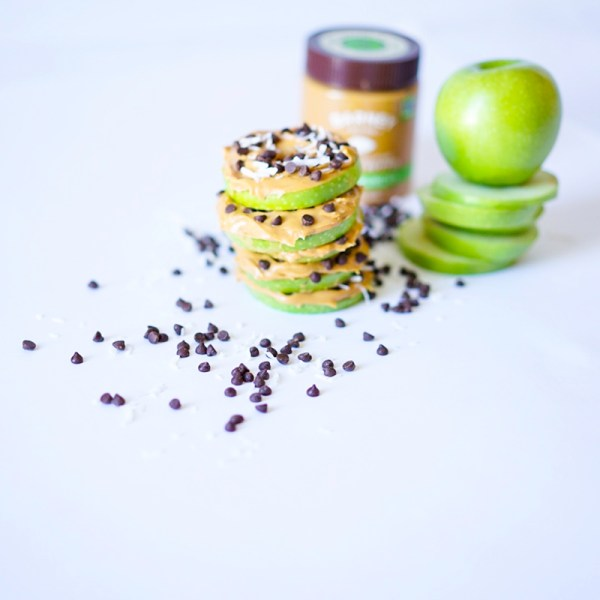 Apple Slices With Almond Butter and Chocolate Chips #myvegetarianfamily