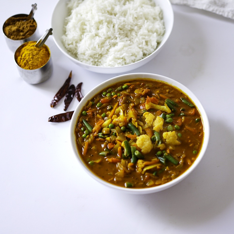 Easy Mixed Vegetble Curry #myvegetarianfamily