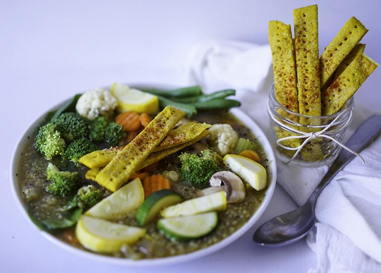 quinoa veggie soup vegan delicious