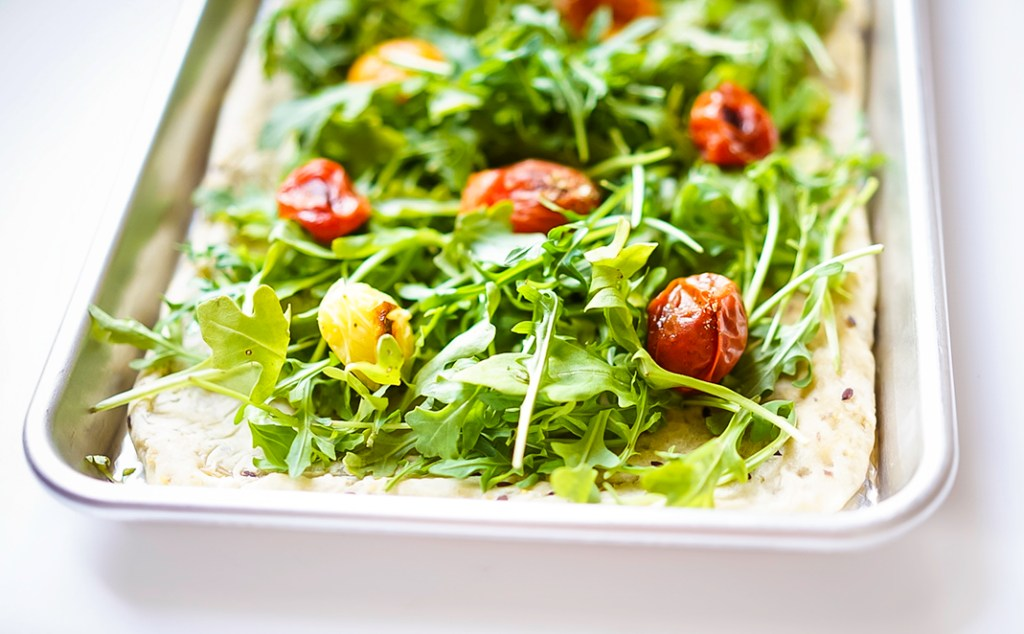 Arugula Pizza Salad myvegetarianfamily