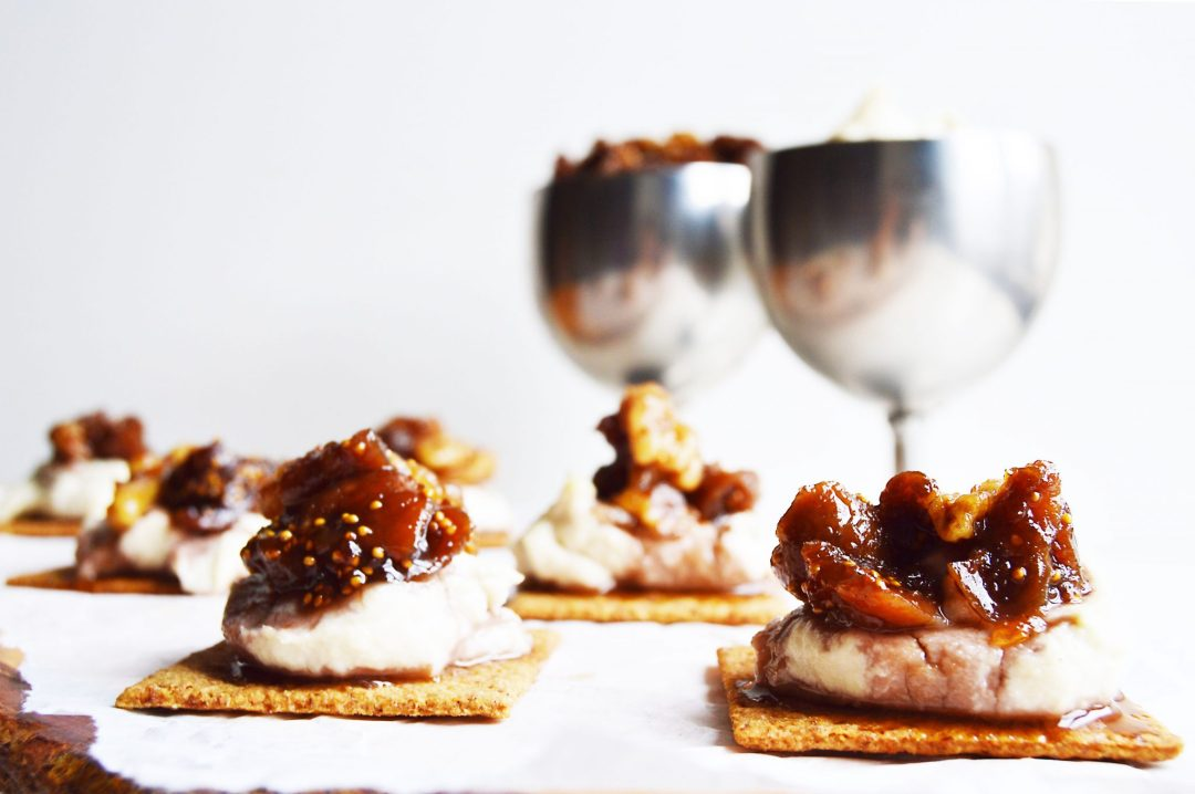 vegan cashew cream cheese fig walnut bites
