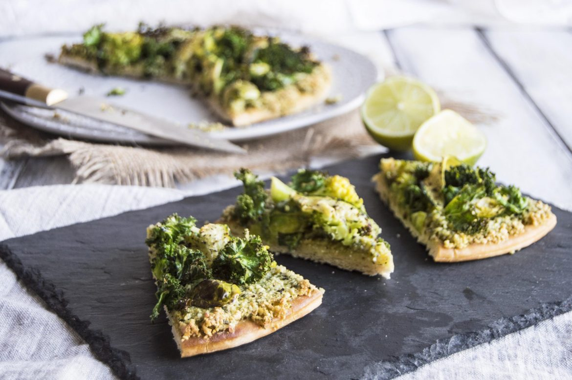 Vegan Pesto Pizza with Green Winter Vegetables