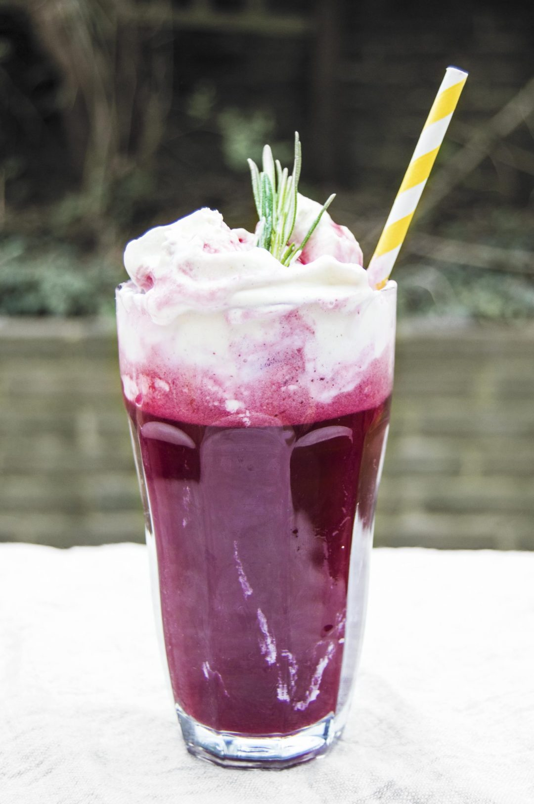 Vegan Blueberry Rosemary Lemonade Ice Cream Floats