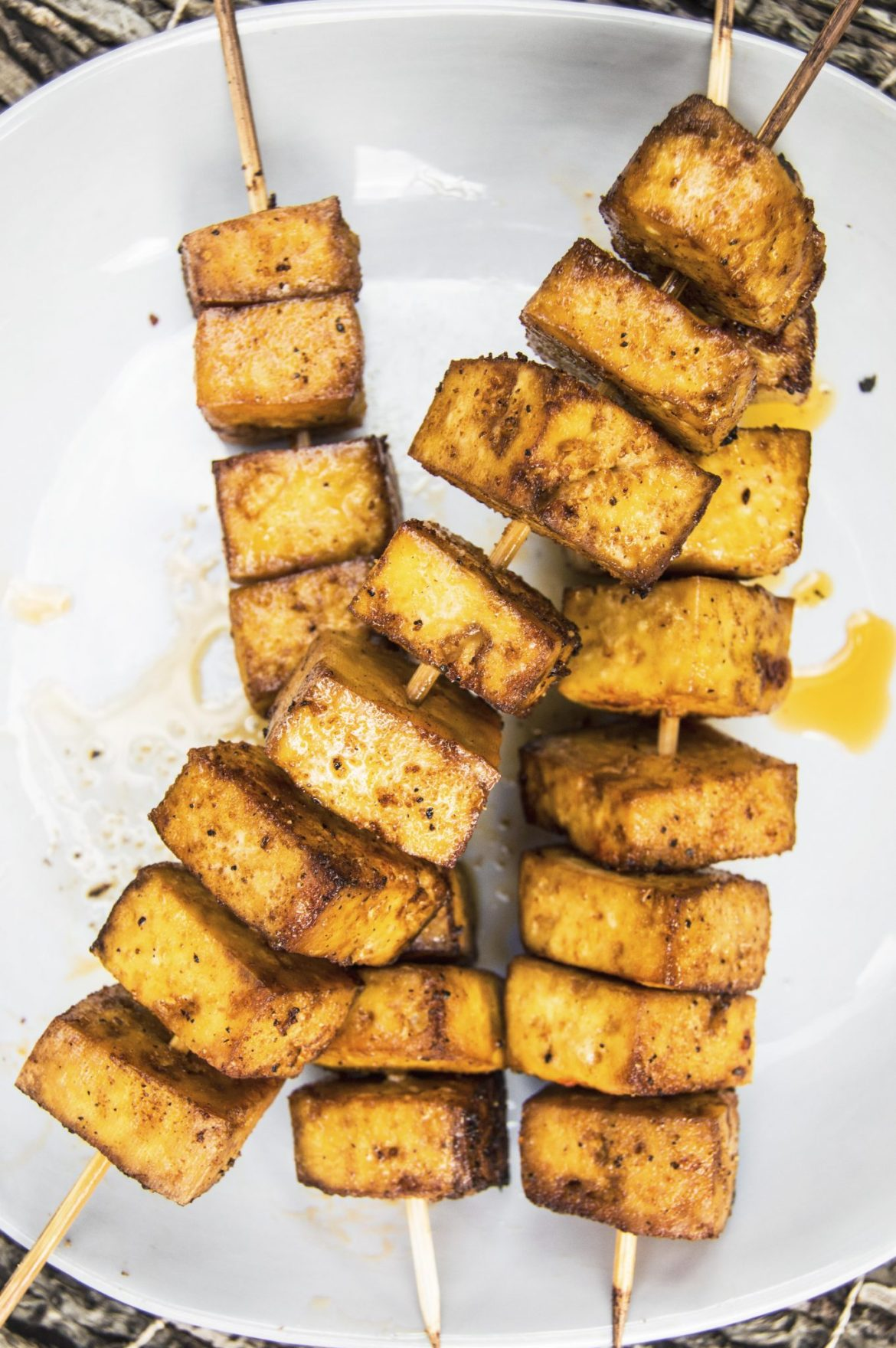 BBQ Tofu Skewers with Creamy Onion Mushroom Sauce (German Style)