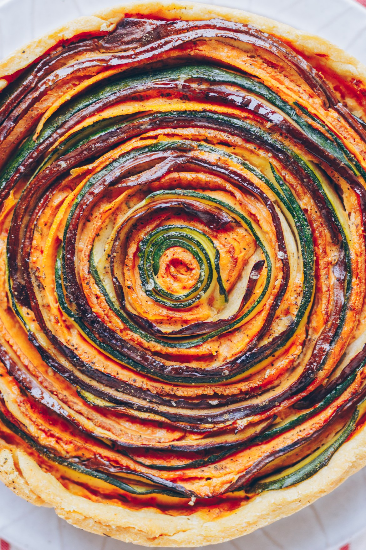 Vegan Spiral Vegetable Tart With Sun-dried Tomato Cream