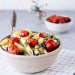 Vegan Pesto Pasta Salad With Roasted Cherry Tomatoes And Chickpeas