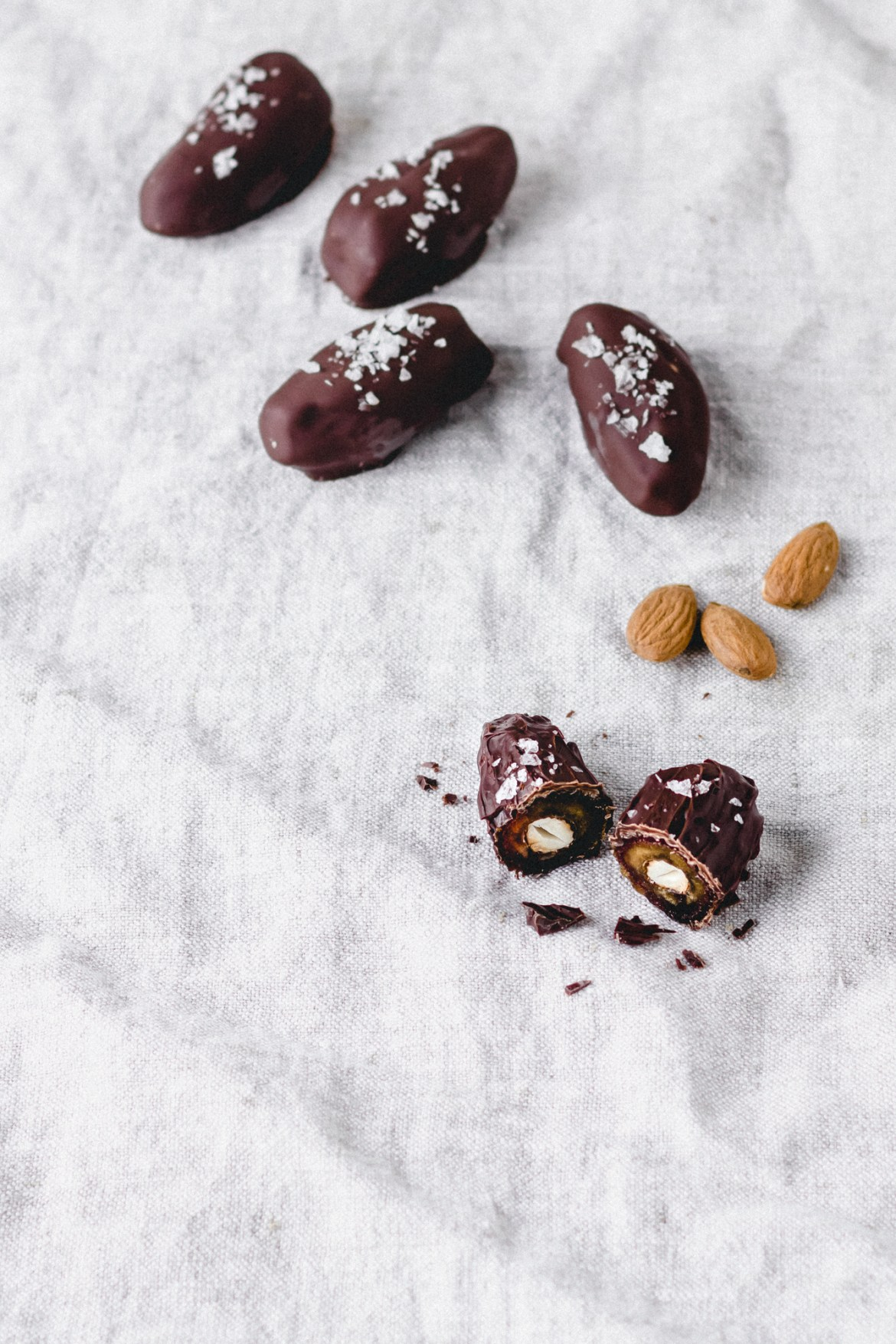 Vegan Salted Dark Chocolate Dates Stuffed With Almonds