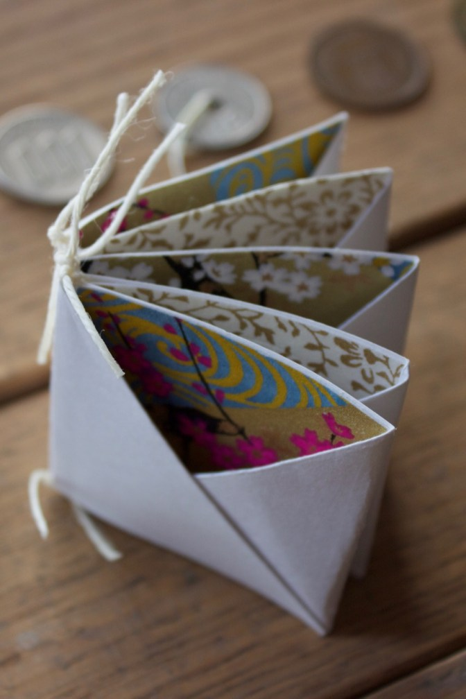 Miniature Tied Binding with Coin Pockets