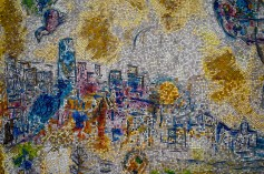 "The Chicago skyline in Marc Chagall's ""Four Seasons"" mosaic."