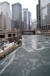 Climate change is proving reality here in Chicago, as the river is only semi-frozen this year.