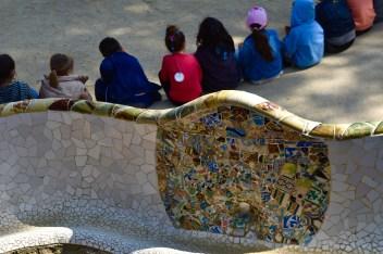Colorful mosaics surrounding the Monumental Zone