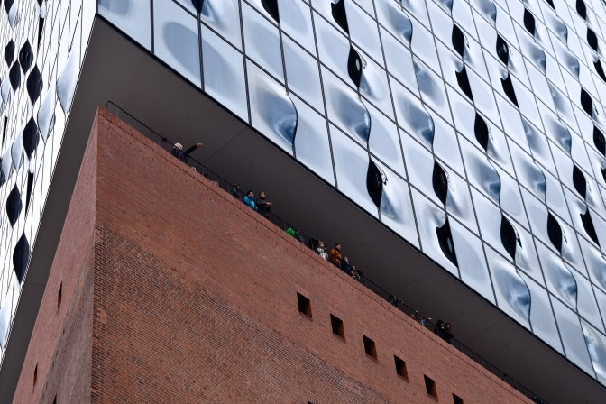 Viewers on the observation deck