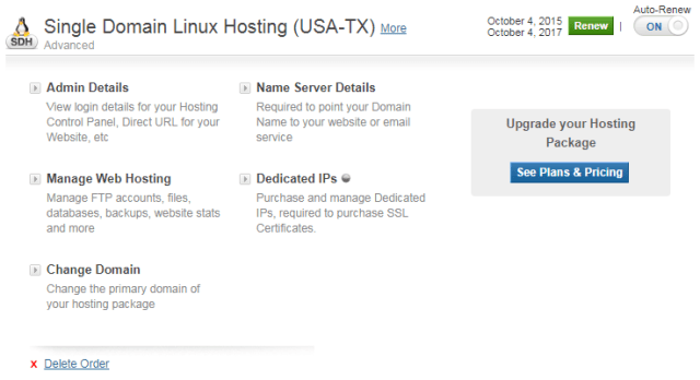 manage web hosting BigrRock.in
