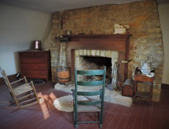 "A view inside the living quarters of the factor, the ""storekeeper""."