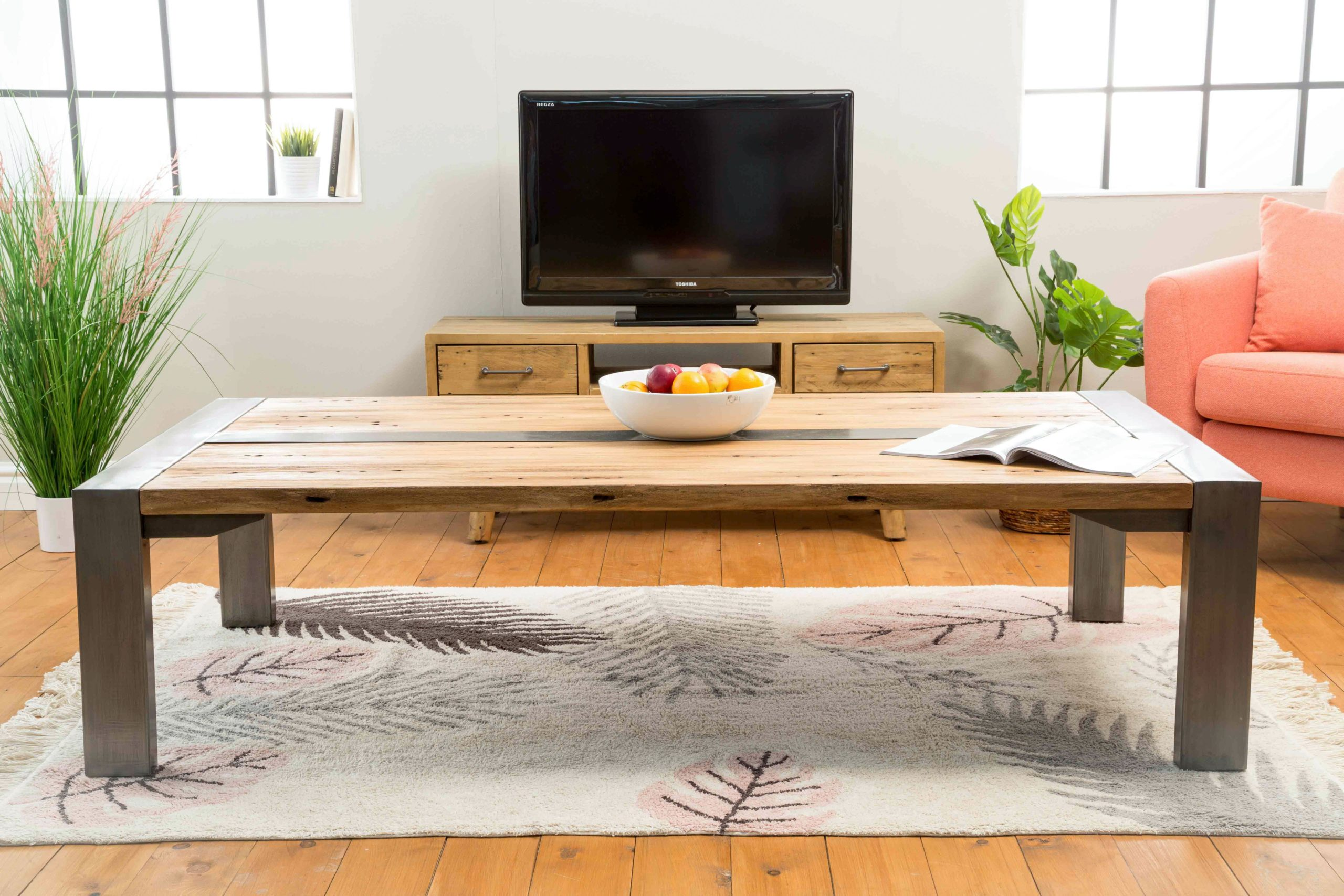 industrial style rustic wooden coffee table with metal legs xl