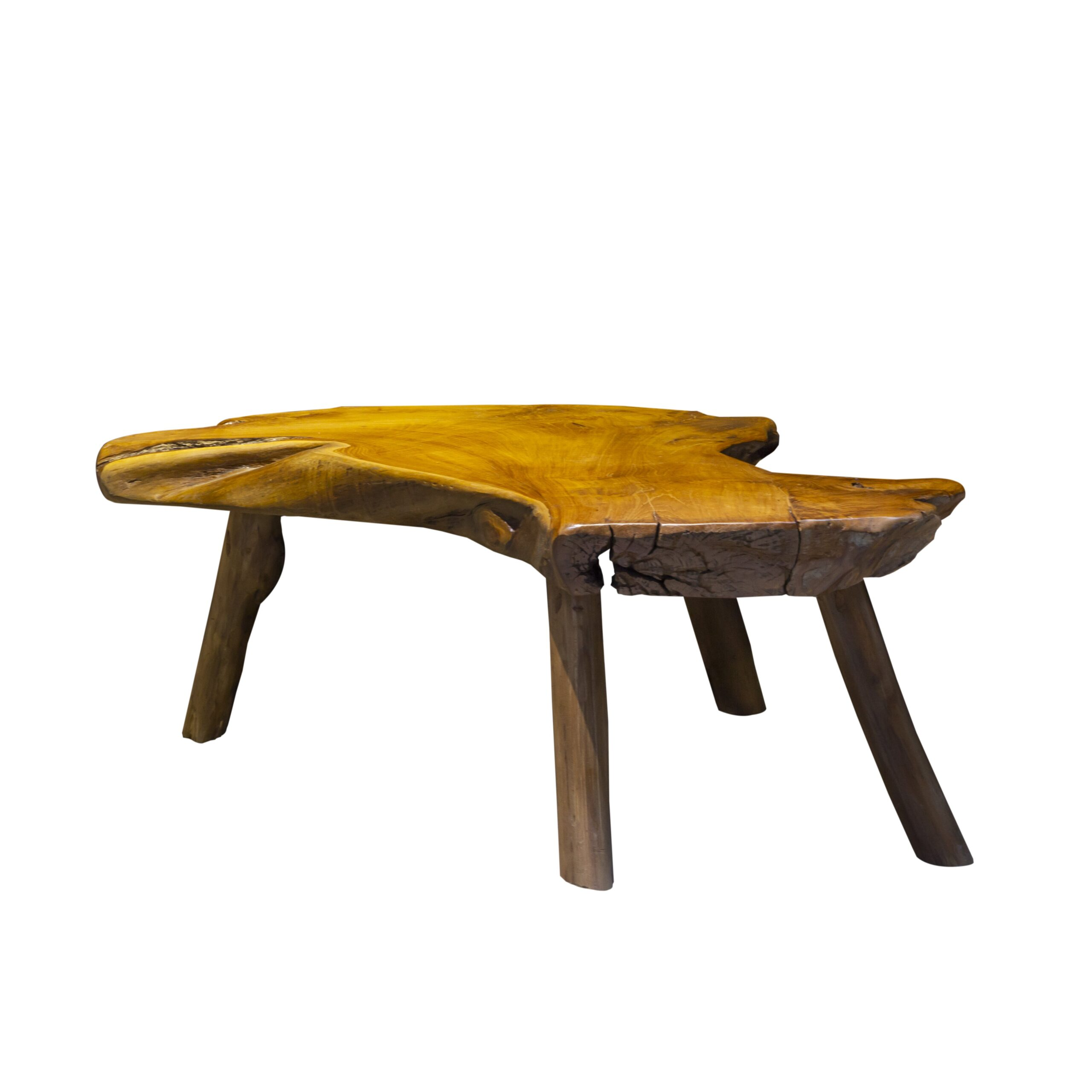 chunky teak wooden slice coffee table