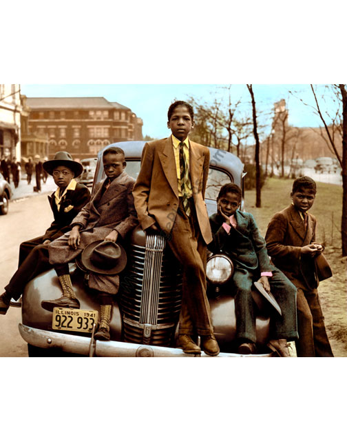 African American boys on a car, Easter 1941