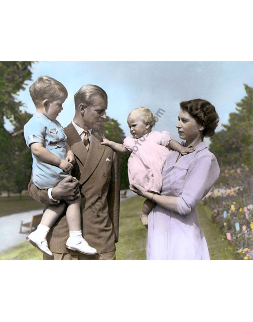Queen Elizabeth II, Duke of Edinburgh Phillip, Prince Charles & Princess Anne