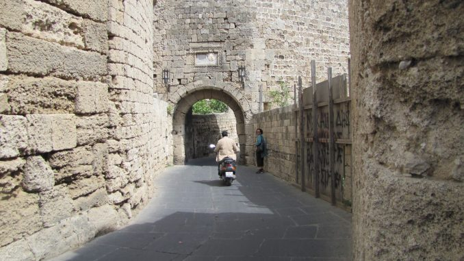 Narrow streets in the old city in Rhodes