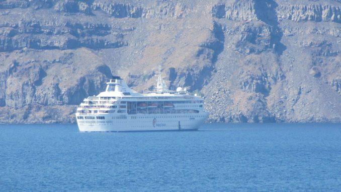 Cruise ship anchored in Santorini