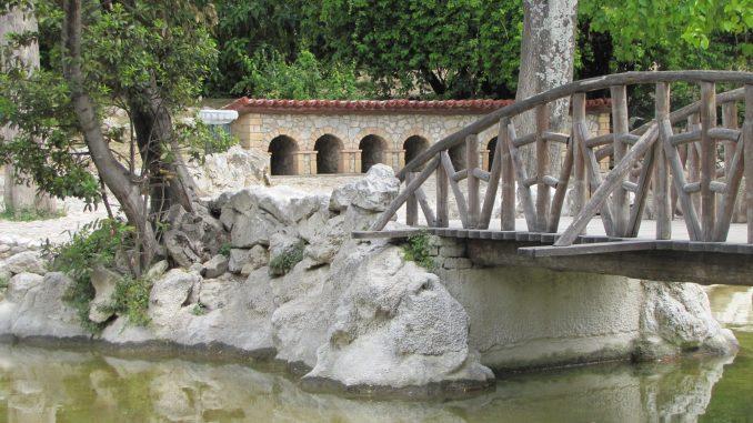 Walkway bridge in park