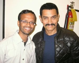 A photo of my Chachu Amritanshu with Aamir Uncle.