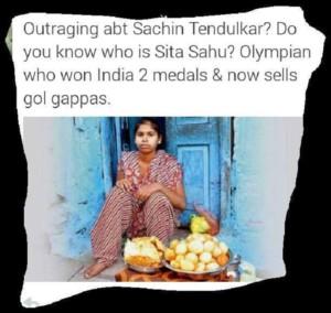 Olympic medalist Sita sahoo selling gol -gappa