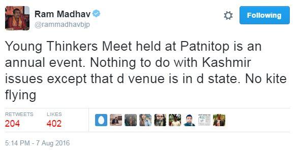 Ram Madhav's tweet
