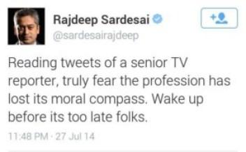 Rajdeep Sardesai' tweet
