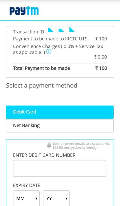 Payment options on UTS app