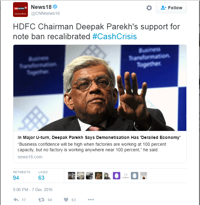 Screenshot of the News18 tweet over Deepak Parekh